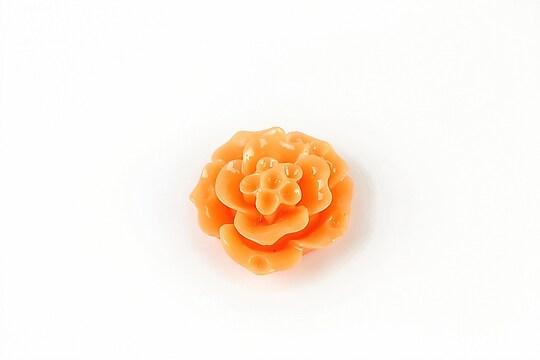 Cabochon rasina floare 20mm - portocaliu