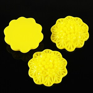 Cabochon rasina buchet de flori 20mm - galben