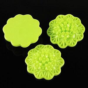 Cabochon rasina buchet de flori 20mm - verde deschis