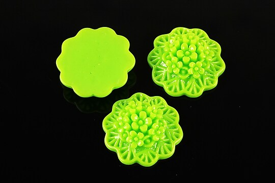 Cabochon rasina buchet de flori 20mm - verde