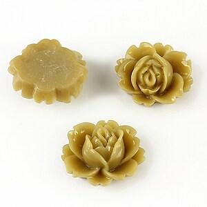 Cabochon rasina trandafir 16x18mm - kaki