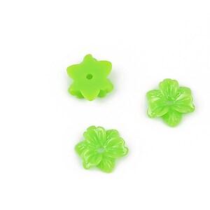 Cabochon rasina floare 10mm - verde