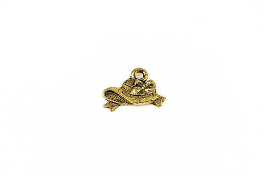 Charm auriu antichizat palarie 11x17mm
