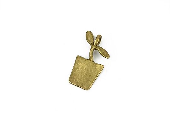 Charm bronz ghiveci 25x13mm