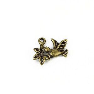 Charm bronz pasare 15x18mm