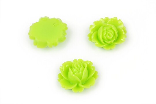 Cabochon rasina trandafir 16x18mm - verde deschis