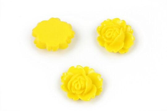 Cabochon rasina trandafir 16x18mm - galben