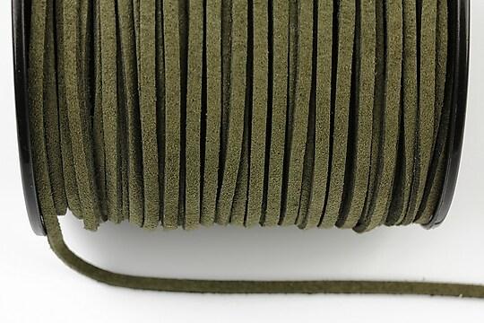 Snur suede (imitatie piele intoarsa) 3x1mm, verde kaki inchis (1m) - cod 183