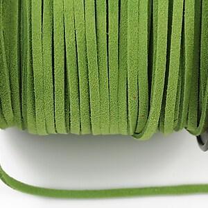 Snur suede (imitatie piele intoarsa) 3x1mm, verde deschis (1m) - cod 185