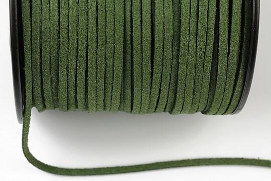 Snur suede (imitatie piele intoarsa) 3x1mm, verde inchis (1m) - cod 186