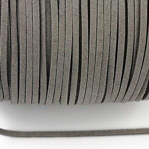 Snur suede (imitatie piele intoarsa) 3x1mm, gri (1m) - cod 189