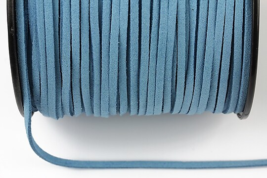 Snur suede (imitatie piele intoarsa) 3x1mm, albastru (1m) - cod 195