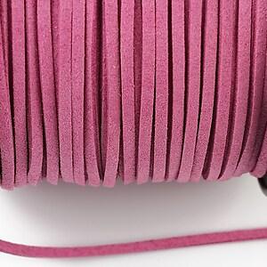 Snur suede (imitatie piele intoarsa) 3x1mm, roz (1m) - cod 200