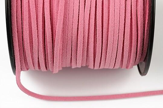 Snur suede (imitatie piele intoarsa) 3x1mm, roz (1m) - cod 201