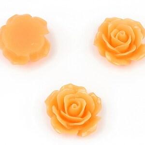 Cabochon rasina trandafir 18mm - portocaliu