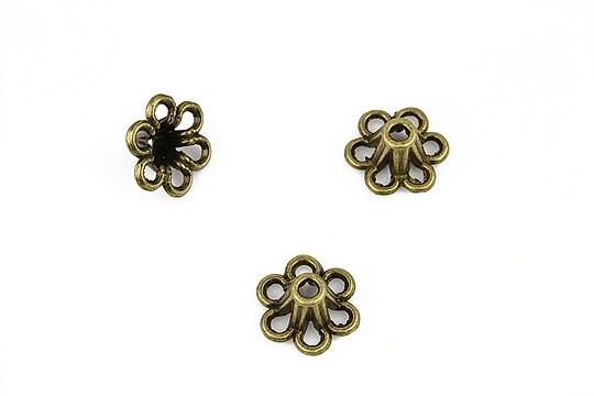 Capacele margele bronz floare 13x5,5mm