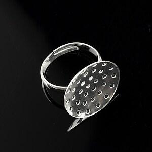 Baza de inel argintie, reglabila, sita 20mm