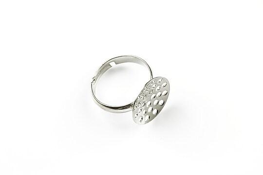 Baza de inel argintiu inchis, reglabila, sita 14mm