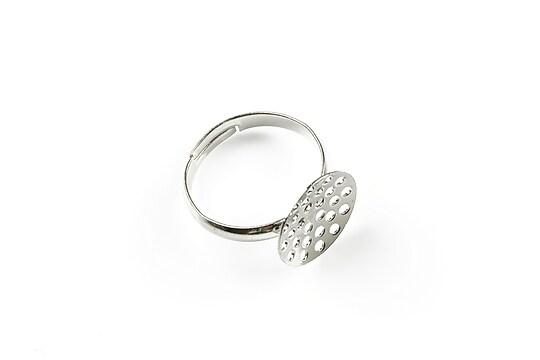 Baza de inel argintiu inchis, reglabila, sita 13mm