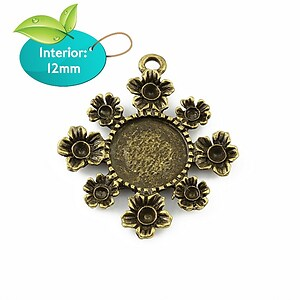 Baza cabochon bronz floare 32x28mm, interior 12mm