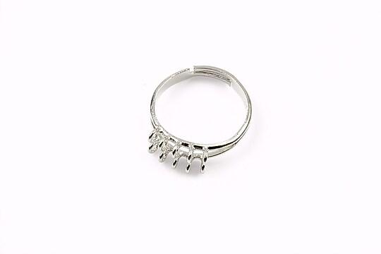 Baza de inel argintiu inchis, reglabila, 10 bucle