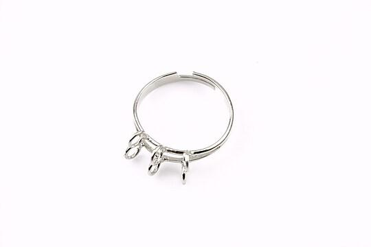 Baza de inel argintiu inchis, reglabila, 6 bucle