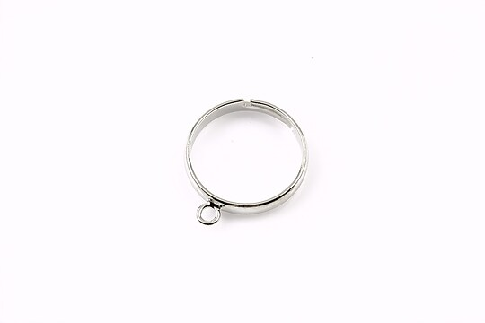Baza de inel argintiu inchis, reglabila, cu 1 bucla