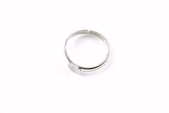 Baza de inel argintiu inchis, reglabila, platou 6mm