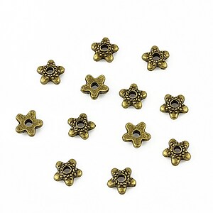 Capacele margele bronz floare 6mm (10 buc.)