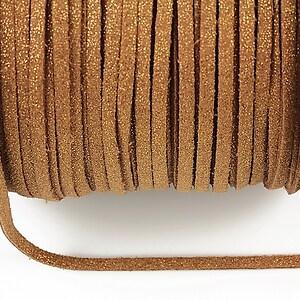 Snur faux suede latime 3mm (1m) - maro cu particule aurii