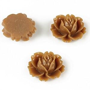 Cabochon rasina trandafir 16x18mm - maro