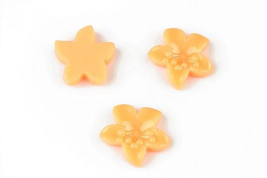 Cabochon rasina floare 17x18mm - portocaliu deschis