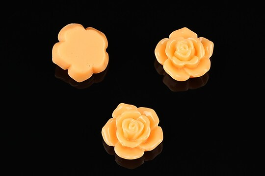 Cabochon rasina trandafir 16mm - portocaliu deschis