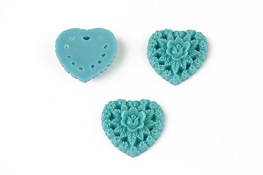 Cabochon din  rasina inima 17mm - albastru