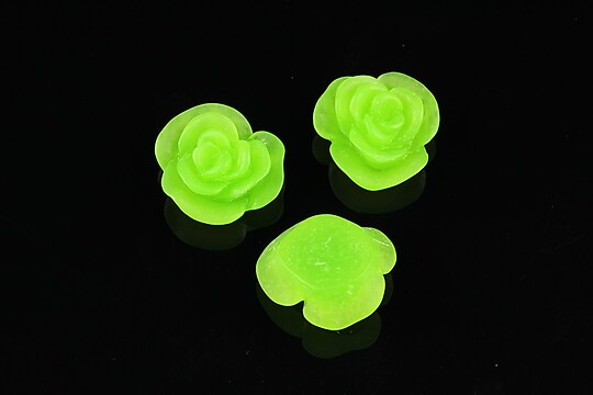 Cabochon din  rasina frosted floare 14mm - verde