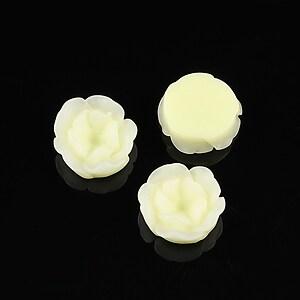 Cabochon rasina in 2 culori  floare 13mm - galben deschis
