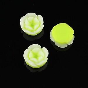 Cabochon rasina in 2 culori  floare 13mm - verde deschis