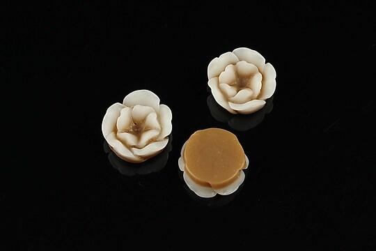 Cabochon rasina in 2 culori  floare 13mm - maro
