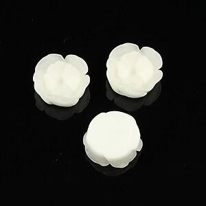 Cabochon rasina in 2 culori  floare 13mm - alb