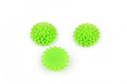 Cabochon din  rasina dalie 15mm - verde