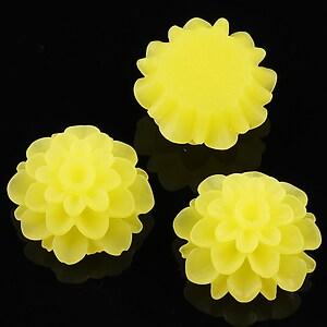 Cabochon rasina frosted dalie 20mm - galben citron