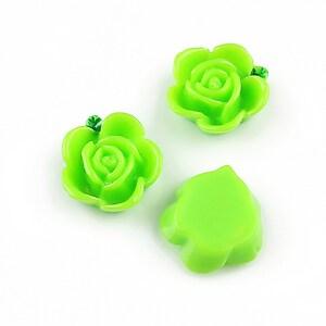 Cabochon rasina floare cu frunzulita verde 15mm - verde
