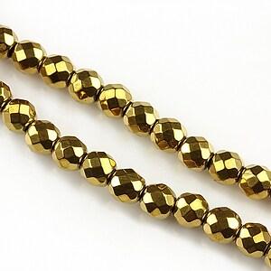 Hematit auriu sfere fatetate 6mm