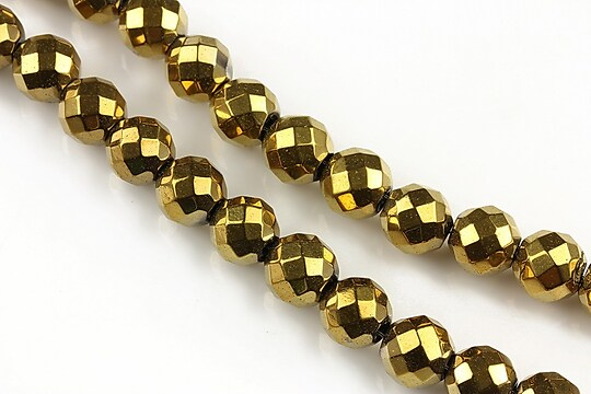 Hematit auriu sfere fatetate 8mm