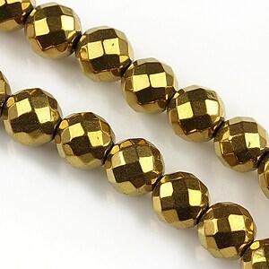 Hematit auriu sfere fatetate 10mm