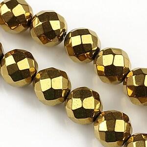 Hematit auriu sfere fatetate 12mm