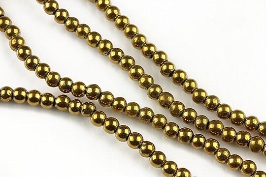 Hematit auriu sfere 4mm (10 buc.)