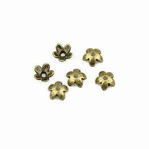Capacele margele bronz floare 6mm