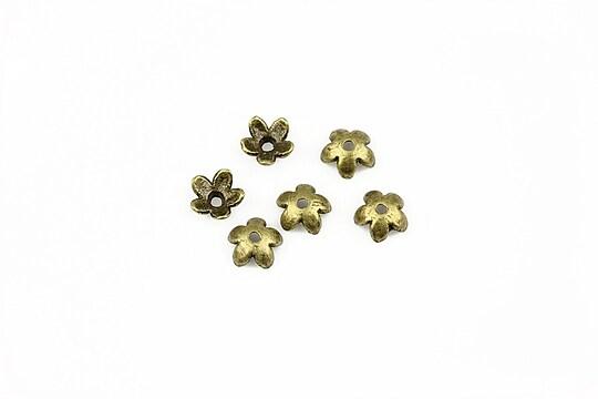 Capacele margele bronz floare 6mm