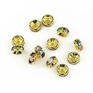 Distantiere aurii cu rhinestone multicolore 2,5x6mm